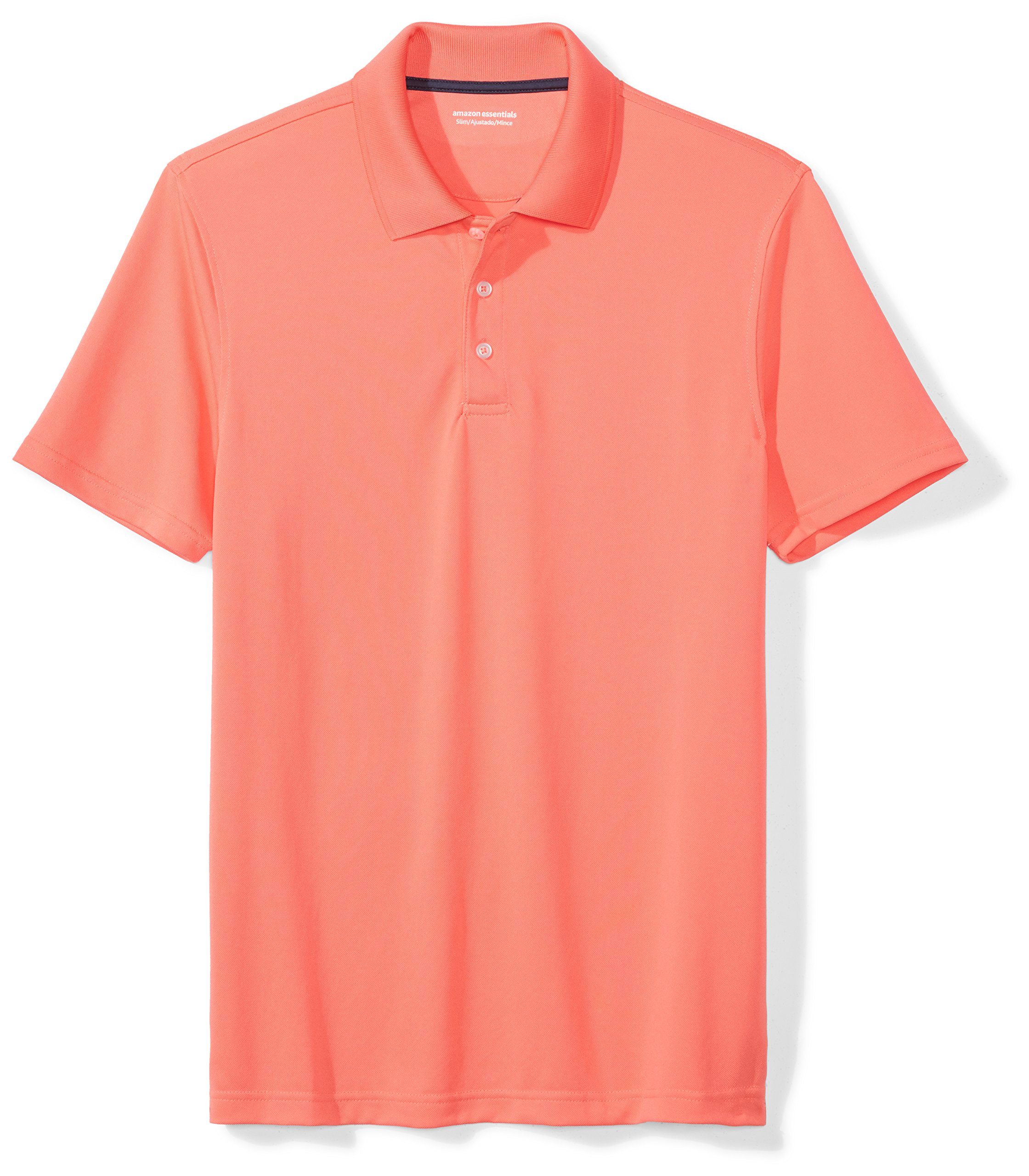 Amazon Essentials Men's Slim-Fit Quick-Dry Golf Polo Shirt, Coral, Large by Amazon Essentials