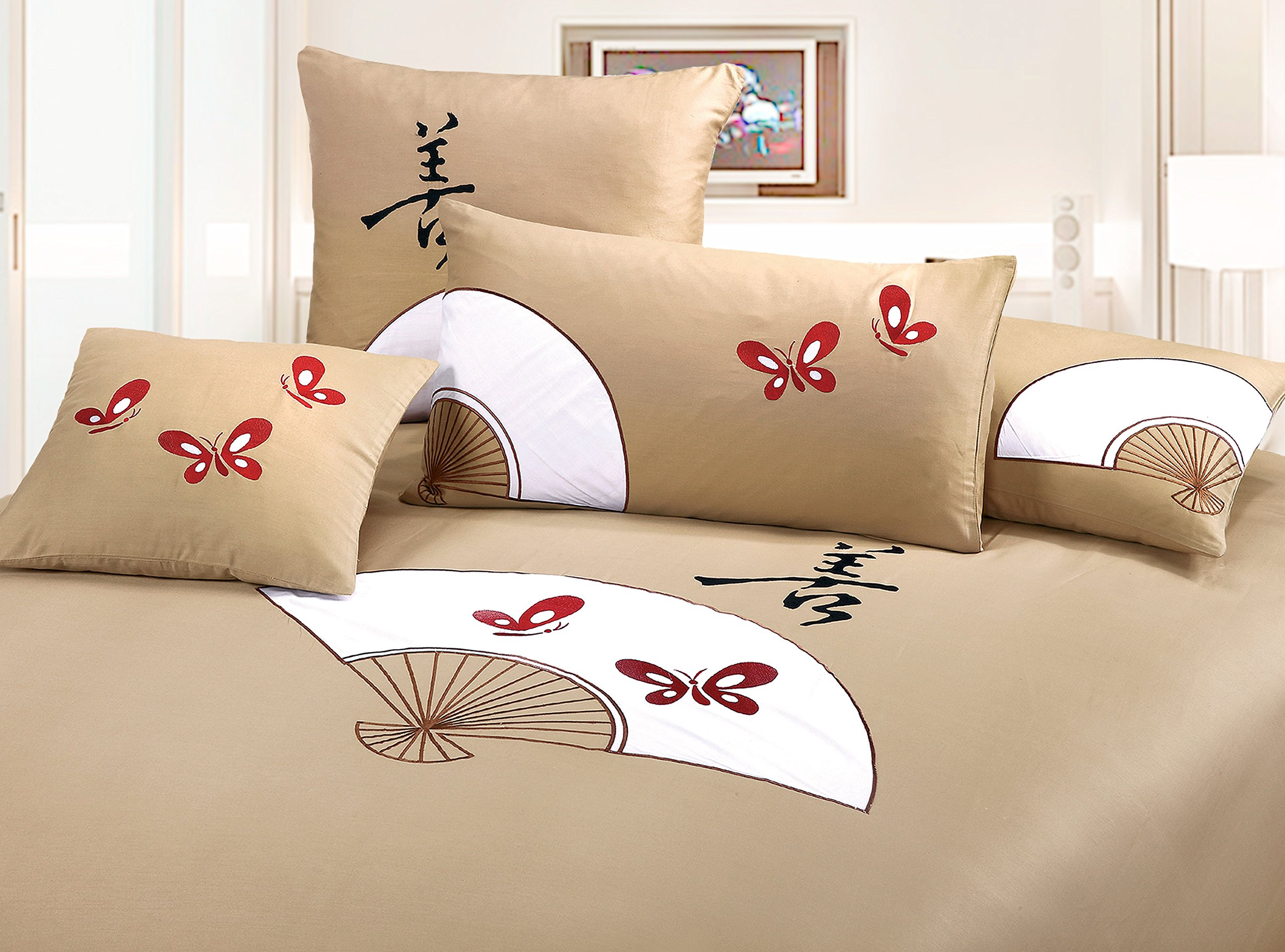 King silk tan 3 piece Duvet Cover Set, coverlet comforter 106''x92'', 2 Pillows 36''x26''. Asian inspired fashionable decorative design featuring red butterflies and fans graphic by Orient Sense