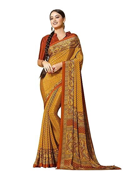 bc25a58581 Jaanvi fashion Women's Elegant Crepe Silk Printed Saree(divine-7608-a):  Amazon.co.uk: Clothing