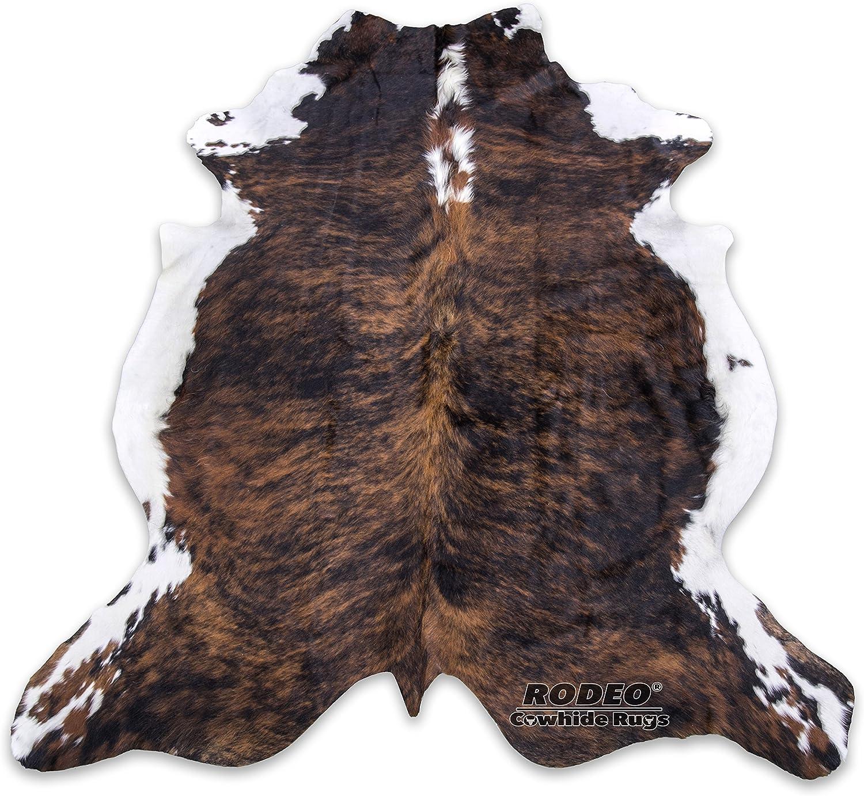 335 Size: 7/'2 x 6/'5 Light Brown Brindle Original Cowhide Rug OG