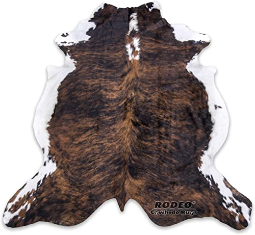 RODEO Real Cowhide Genius Leather Hair on Leather Rug Decorative Value Size Approx 6X7 ft Brown Brindle