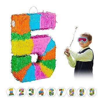 Relaxdays- Piñata Cumpleaños Número 5 sin Relleno, Papel,, 50,5 x 35,5 x 7,5 cm (10025189_907)