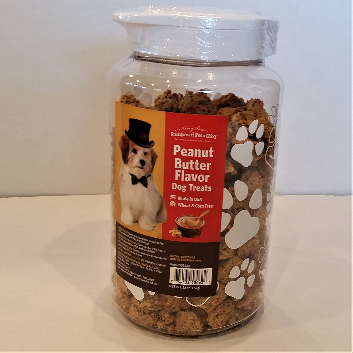 60%OFF Pampered Pet Treats 1 Pouch 53 oz Peanut Butter Treats Canister with Snap Lid, All Sizes