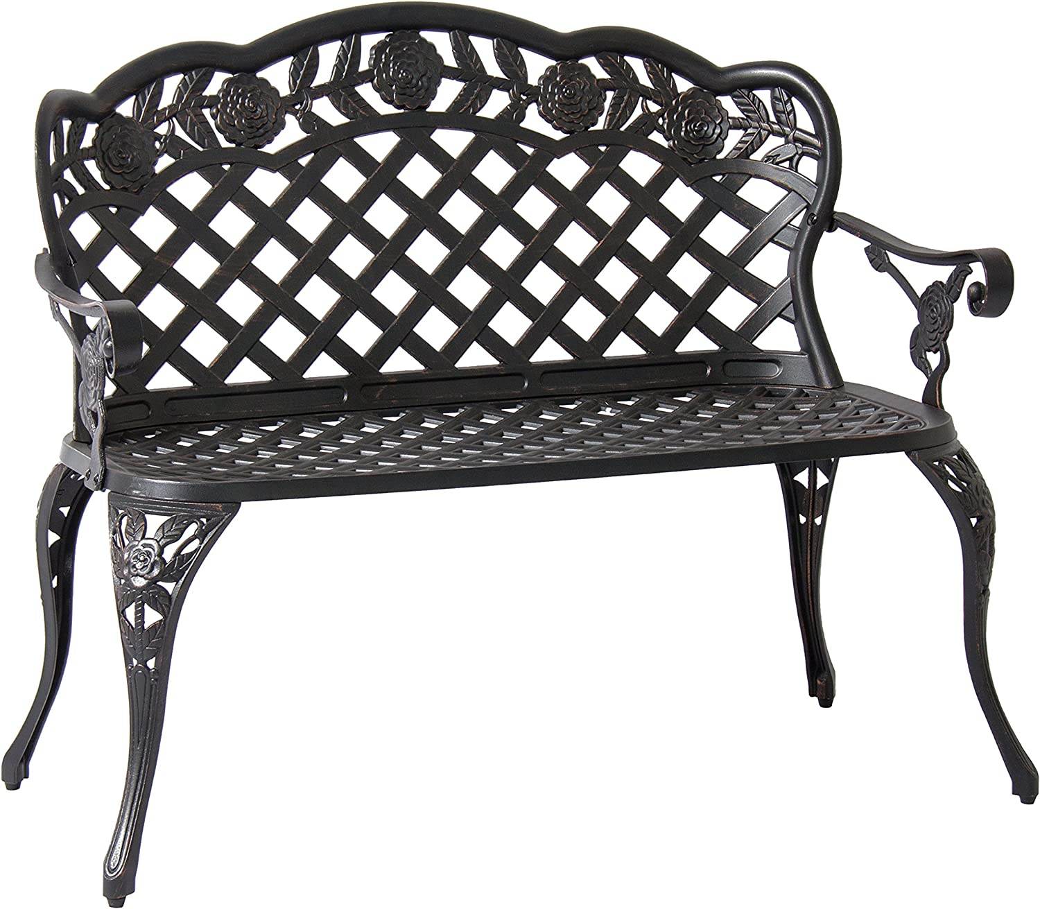 Best Choice Products Patio Garden Bench Cast Aluminum Outdoor Garden Yard Solid Construction New – Bronze