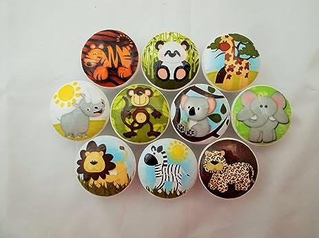 Set Of 10 Safari Animal Cabinet Knobs