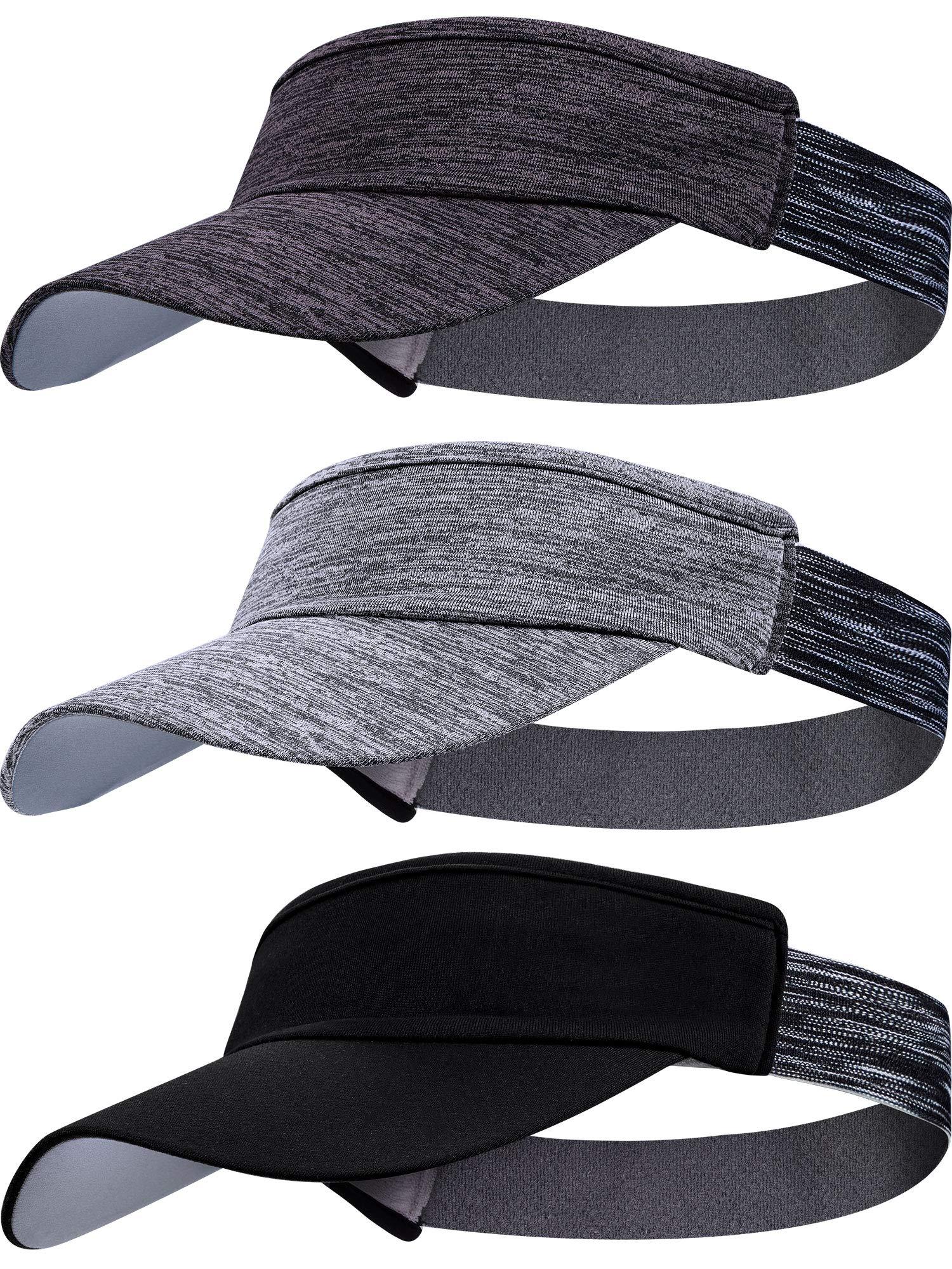 3 Pieces Sun Visor Caps for Women Men Adjustable Sports Visor Hats for Golf Cycling Running Headband