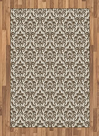 Amazon Com Ambesonne Damask Area Rug Floral Damask Featuring