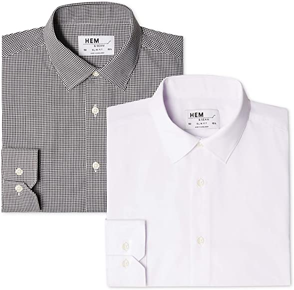 Marca Amazon - find. Camisa de Cuadros Vichy Slim Fit Hombre, Pack ...