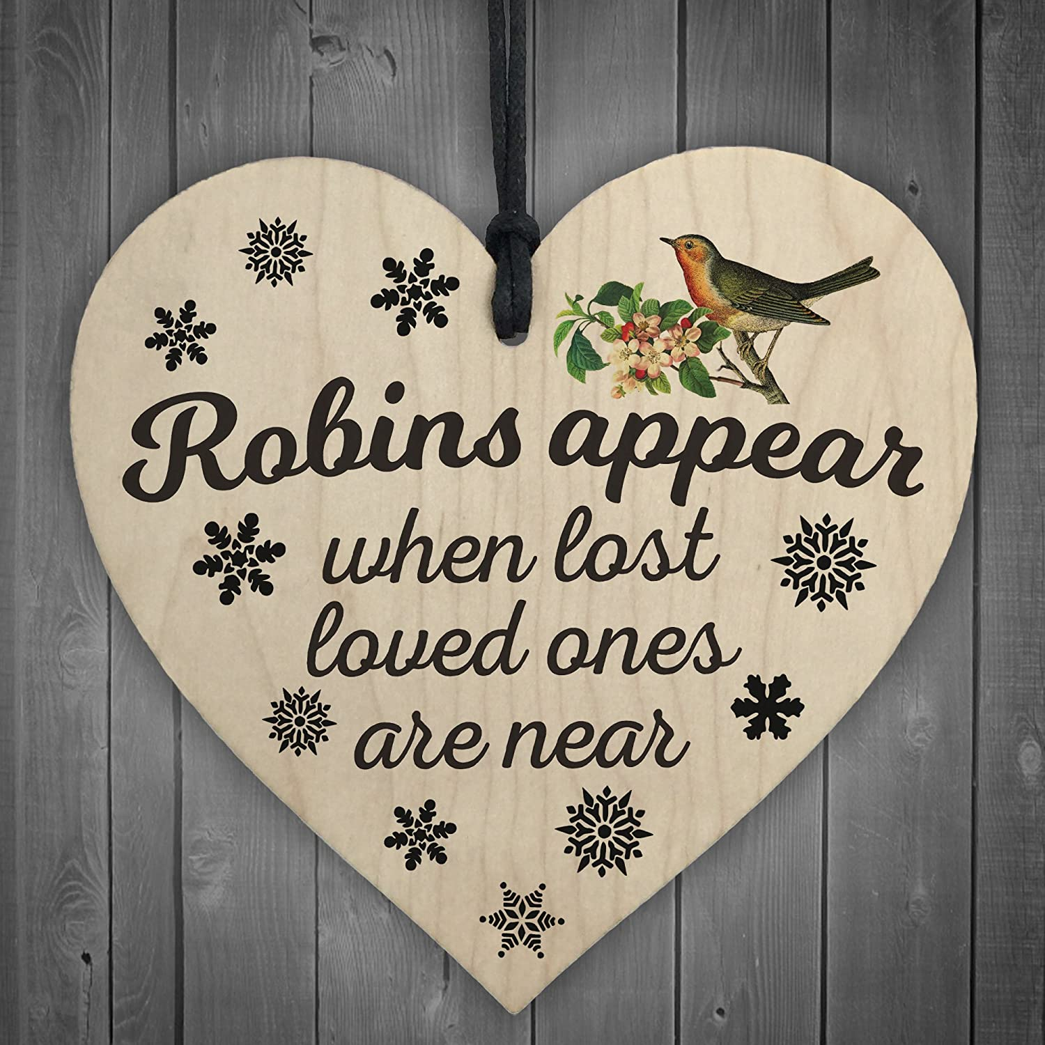 Ornaments for loved ones lost - Red Ocean Robins Appear When Lost Loved Ones Are Near Wooden Hanging Heart Memorial Christmas Tree