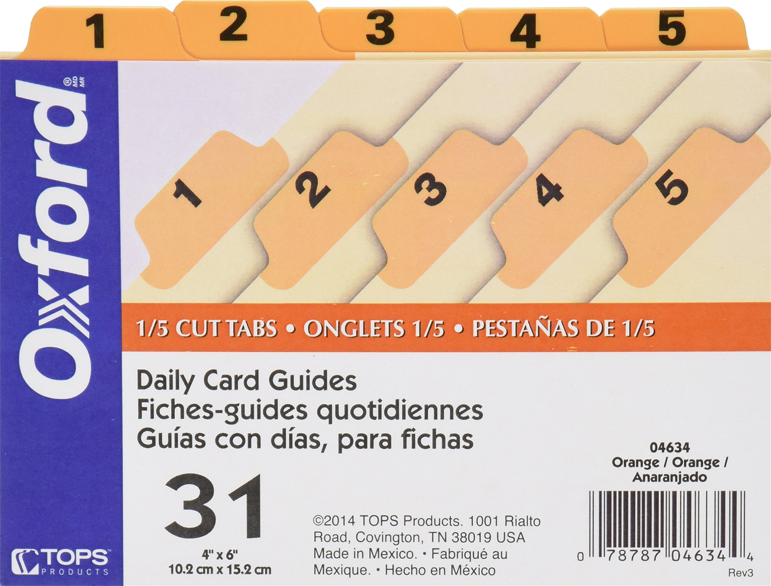 Oxford Index Card Guides with Laminated Tabs, Daily (1-31), 4'' x 6'' Size, Orange, 31 Guides per Set (4634)
