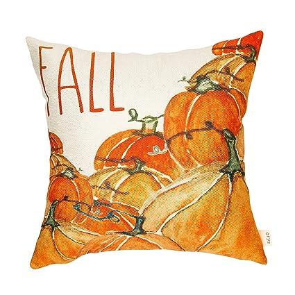 Fjfz Fall Sign Watercolor Autumn Golden Yellow Pumpkins Harvest DecorThanksgiving Day Cotton Linen Home Decorative