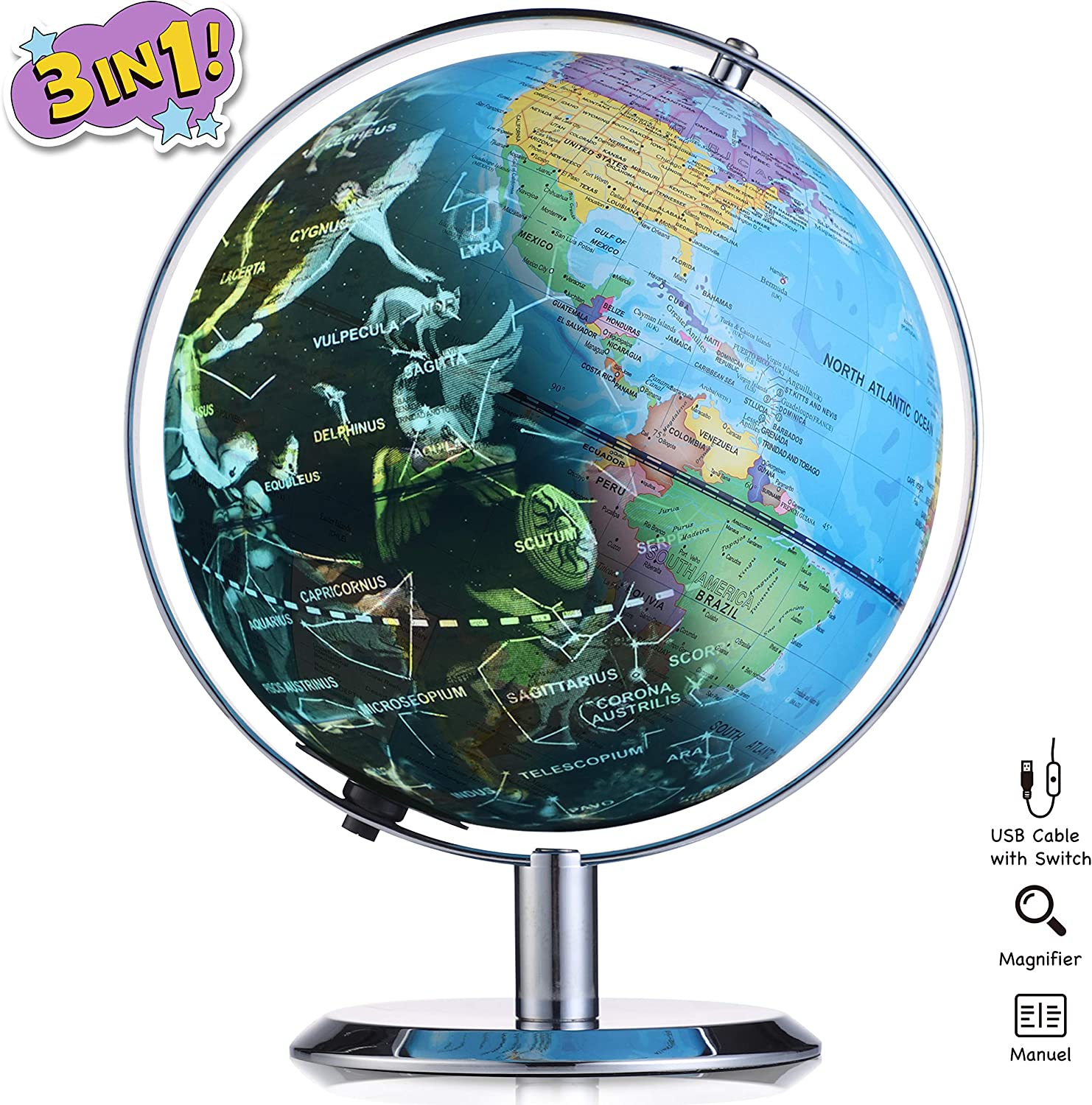 Globes of The World with Stand, 8 Inch Illuminated Led Light 3 in 1 Desktop Geographic Constellation Interactive Educational Discovery World Map Globes for School Child Adults (Silver)