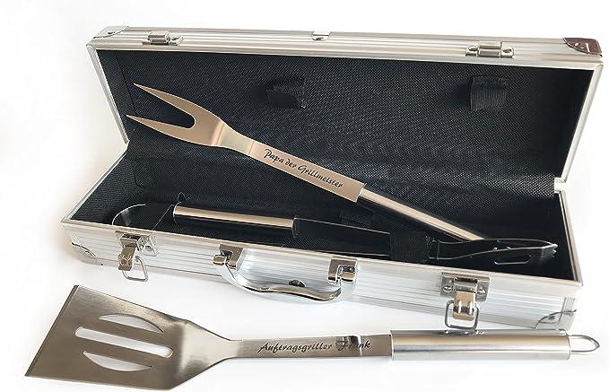 Personalisiert mit Namen Mit Pfannenwender Gravur Grillmeister Casa Vivente Grillkoffer mit Besteck Gabel und Grillzange Aus Edelstahl