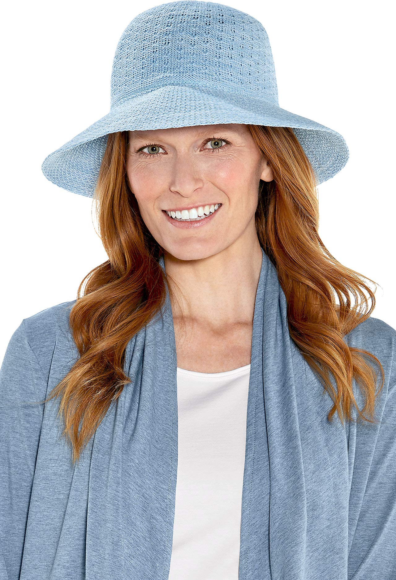 Coolibar UPF 50+ Women's Marina Sun Hat - Sun Protective (One Size- Vintage Blue Space Dye)