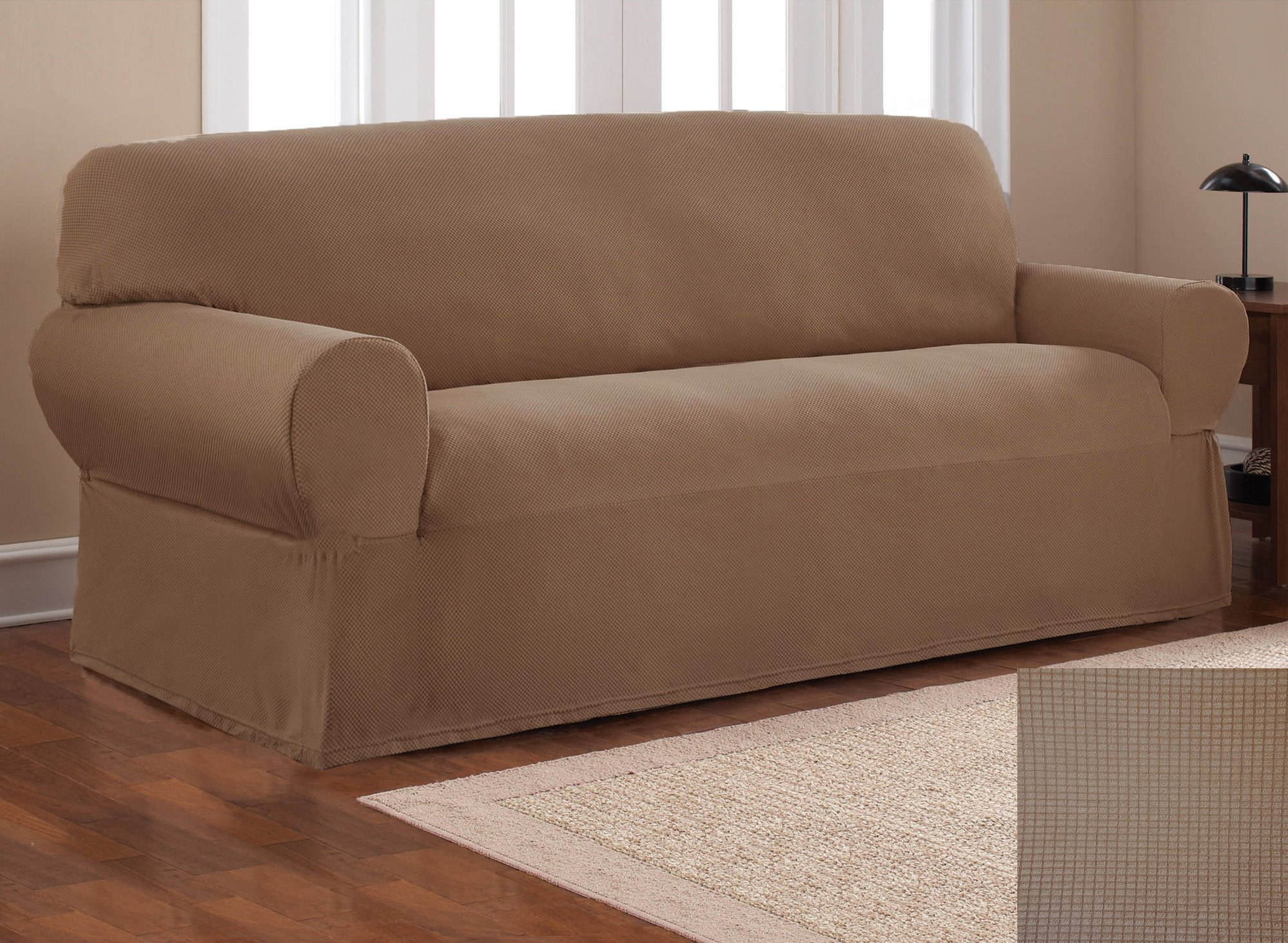 Fancy Collection Sure Fit Stretch Fabric Sofa Slipcover Sofa And Love Seat Covers Solid New #Stella (Light Brown, 3 pc Set)