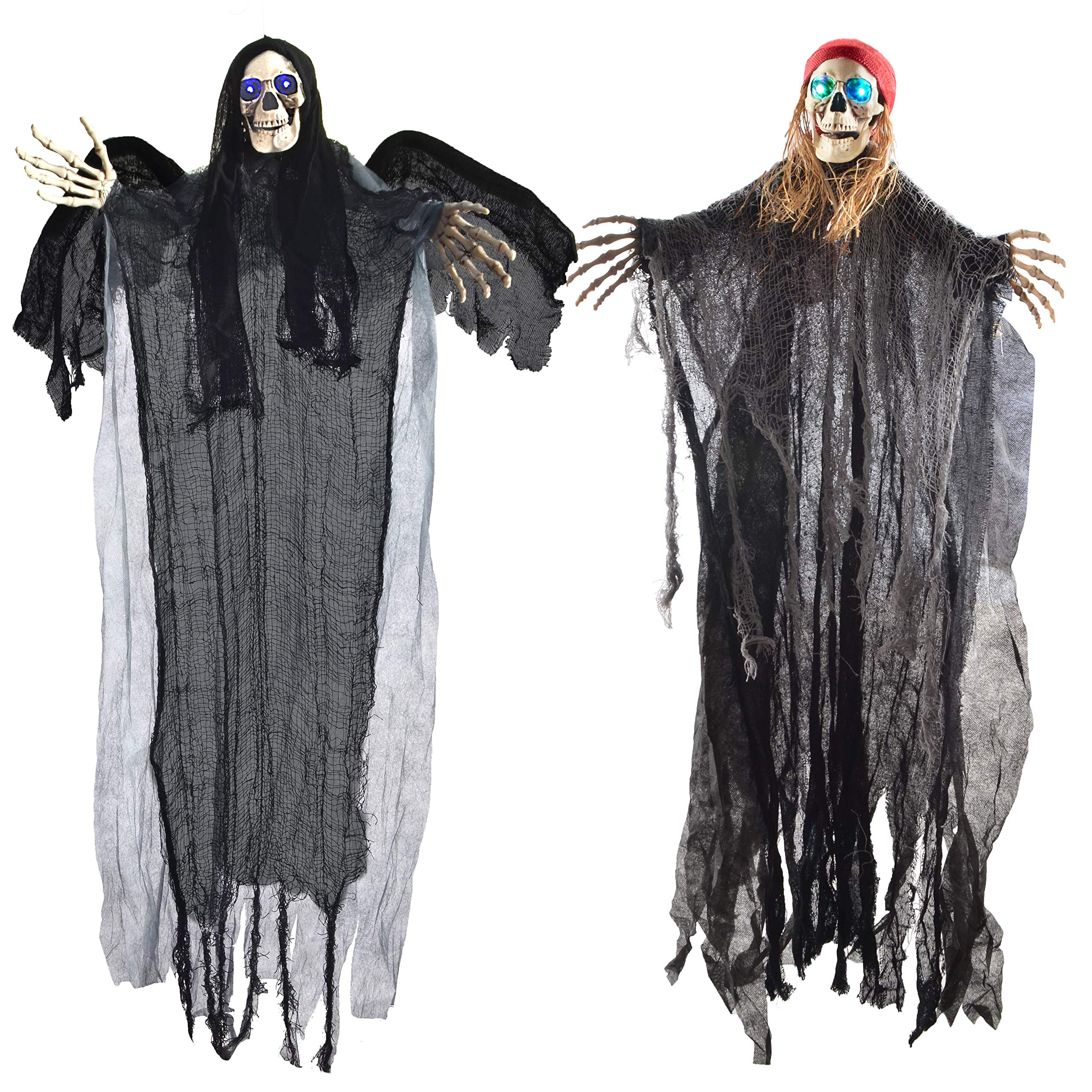 Two 40'' Halloween Hanging Ghost Decorations, One Flying Grim Reaper and One Skeleton Pirate with LED Flashing Eyes by JOYIN