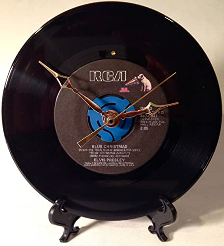 Record Clock – Recycled ELVIS PRESLEY 7 Record – Song Blue Christmas