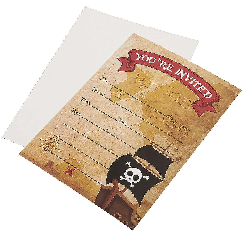 anniversaire f/ête /à th/ème 24 invitations /à remplir avec enveloppes pour enfants Juvale Pirate Cartes dinvitation style carte postale 12,7 x 17,8 cm