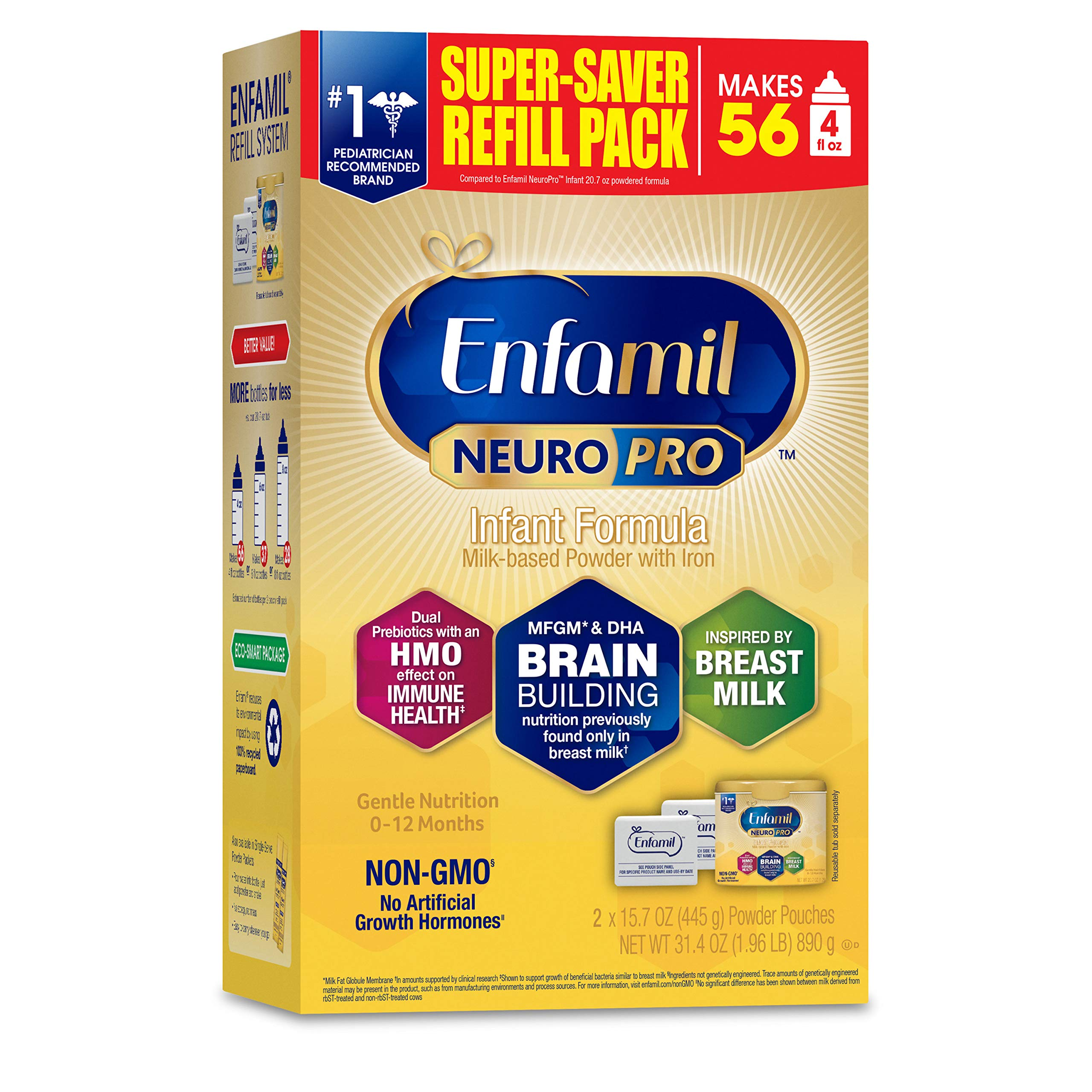 Enfamil NeuroPro Baby Formula, Brain and Immune Support with DHA, Iron and Prebiotics, Infant formula inspired by Breast Milk, Non-GMO, Refill box, 31.4 Oz