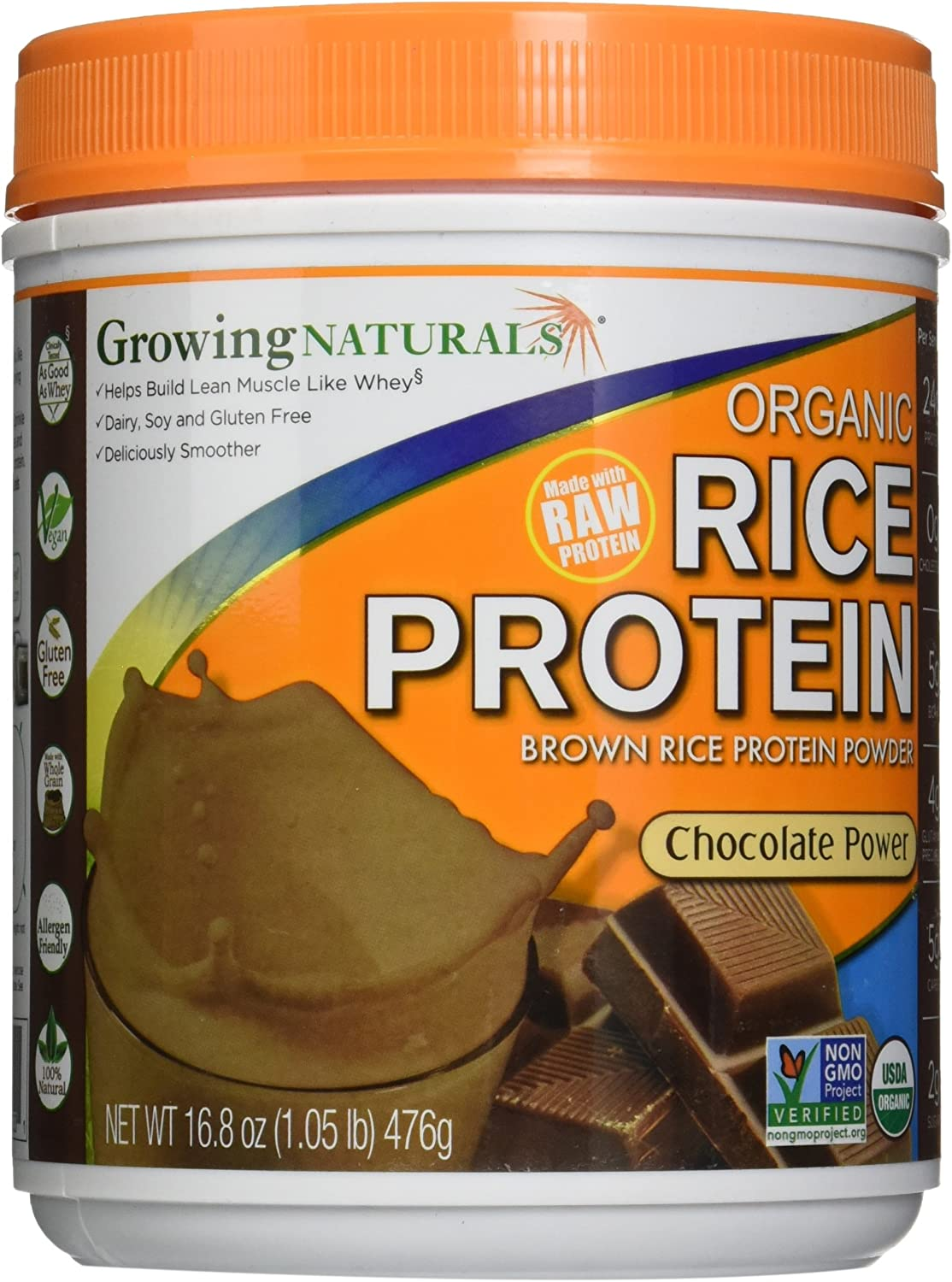 Growing Naturals Rice Protein Chocolate Power (476G) 16.80 Ounces by Growing Naturals: Health & Personal Care