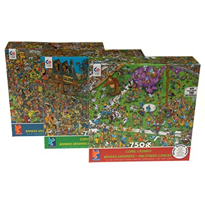 Ceaco Comic Crowds Jigsaw Puzzles Bundle - Lost Ball, Old West & Book Fair: Toys & Games