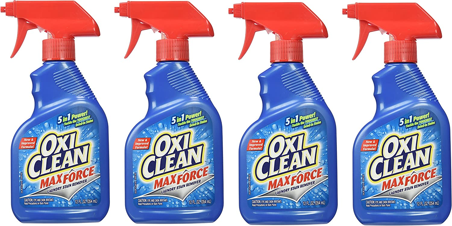OxiClean Max Force Stain Remover Spray, 12 Ounce (Pack of 4)