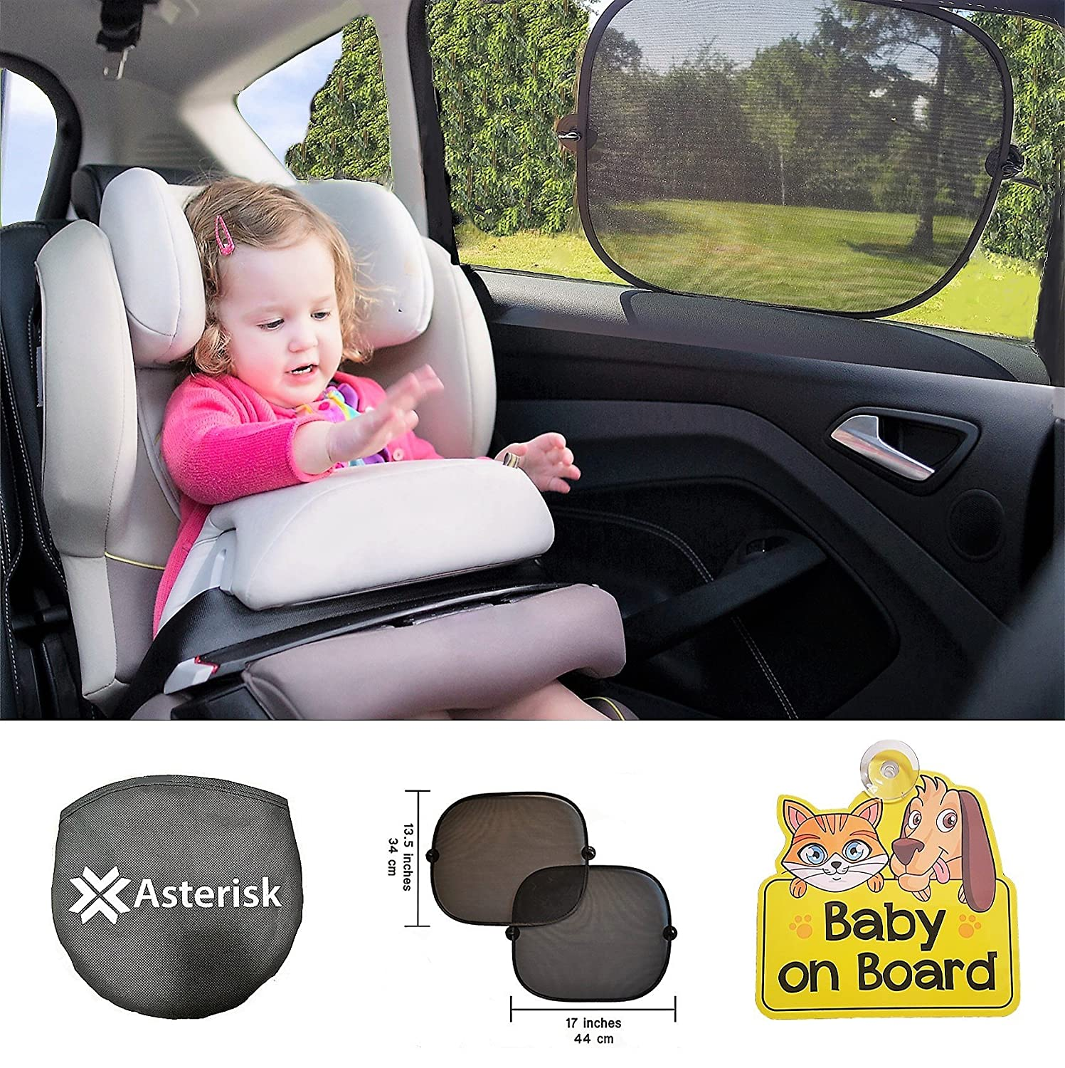 Car Sun Shades for babies and children - Bonus BABY ON BOARD car sign - Black Car Sunshade / Protector for side and rear window - 2 pack - Blocks harmful UV ...