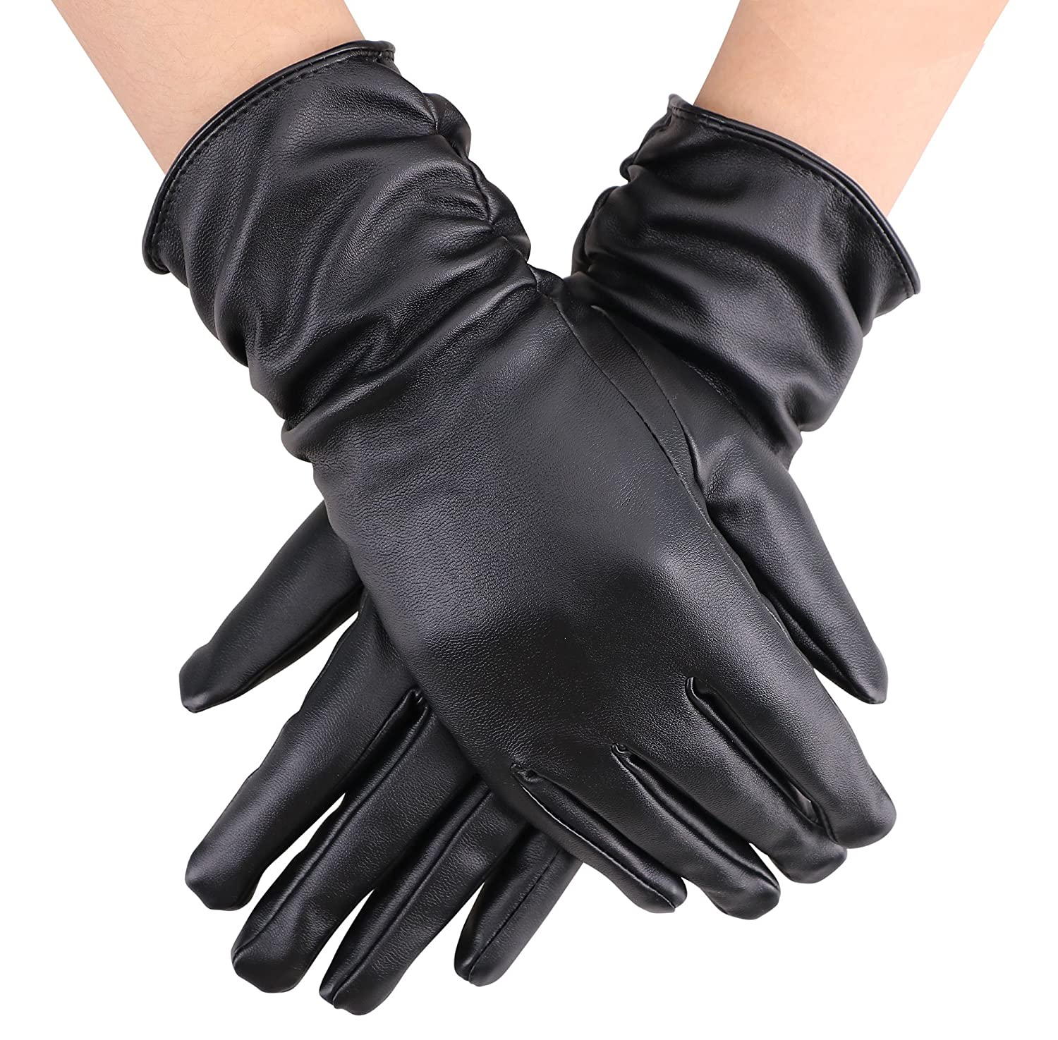 Simplicity Women's Elegant Winter Warm Long PU Leather Gloves Black