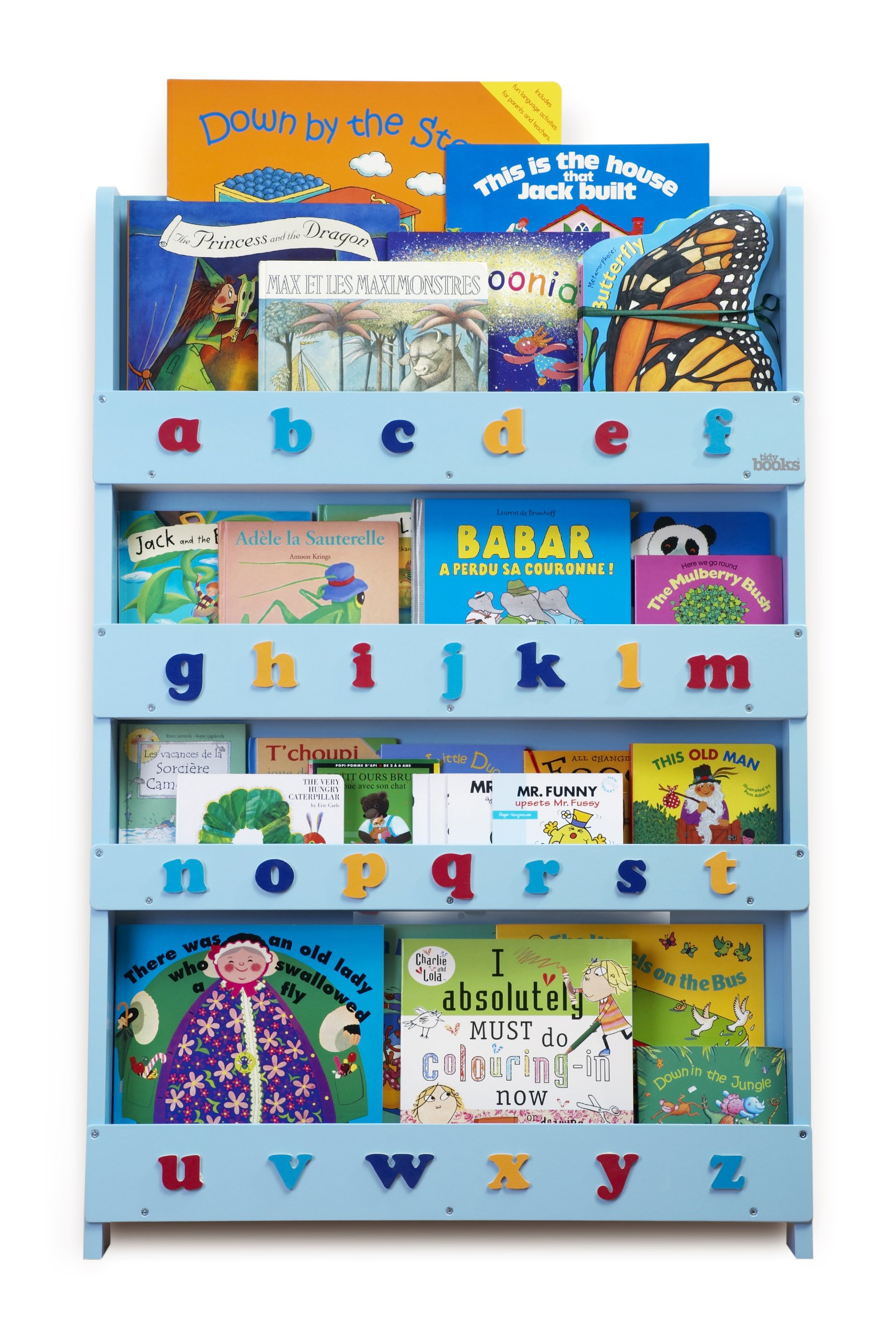 The Original Wooden Front-Facing Kids Bookcase and Book Display with 3D Alphabet