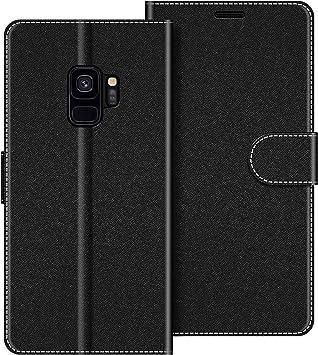 COODIO Coque en Cuir Samsung Galaxy S9, Étui Téléphone Samsung S9, Housse Pochette Galaxy S9 Fonction Stand Etui Coque pour Samsung Galaxy S9, Noir