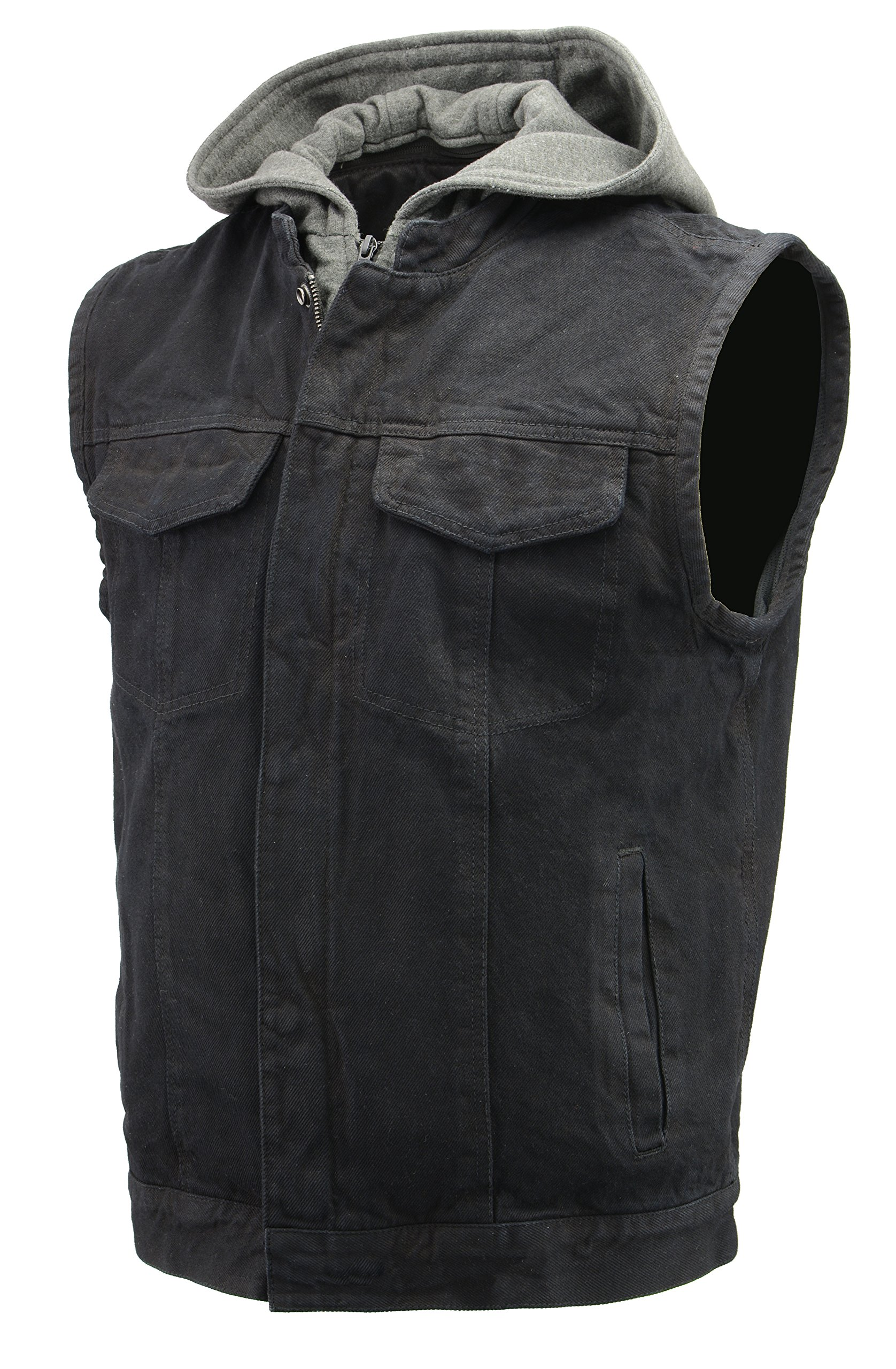 Men's Denim Club Style Vest | Removable Hoodie, Concealed Gun Pockets, Patches Friendly Single Panel Back | Rustic and Casual Black Jean Biker Vest (Black, 5X-Large)