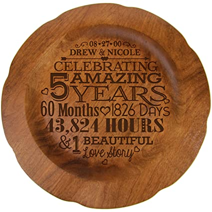 LifeSong Milestones Personalized 5th Wedding Anniversary Plate Gift for Couple Fifth Year Gift Ideas for Her