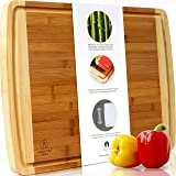 "Indigo True Bamboo Cutting Board - Extra Large 17.5"" x 13.5"" Built-in Deep Drip Juice Groove"