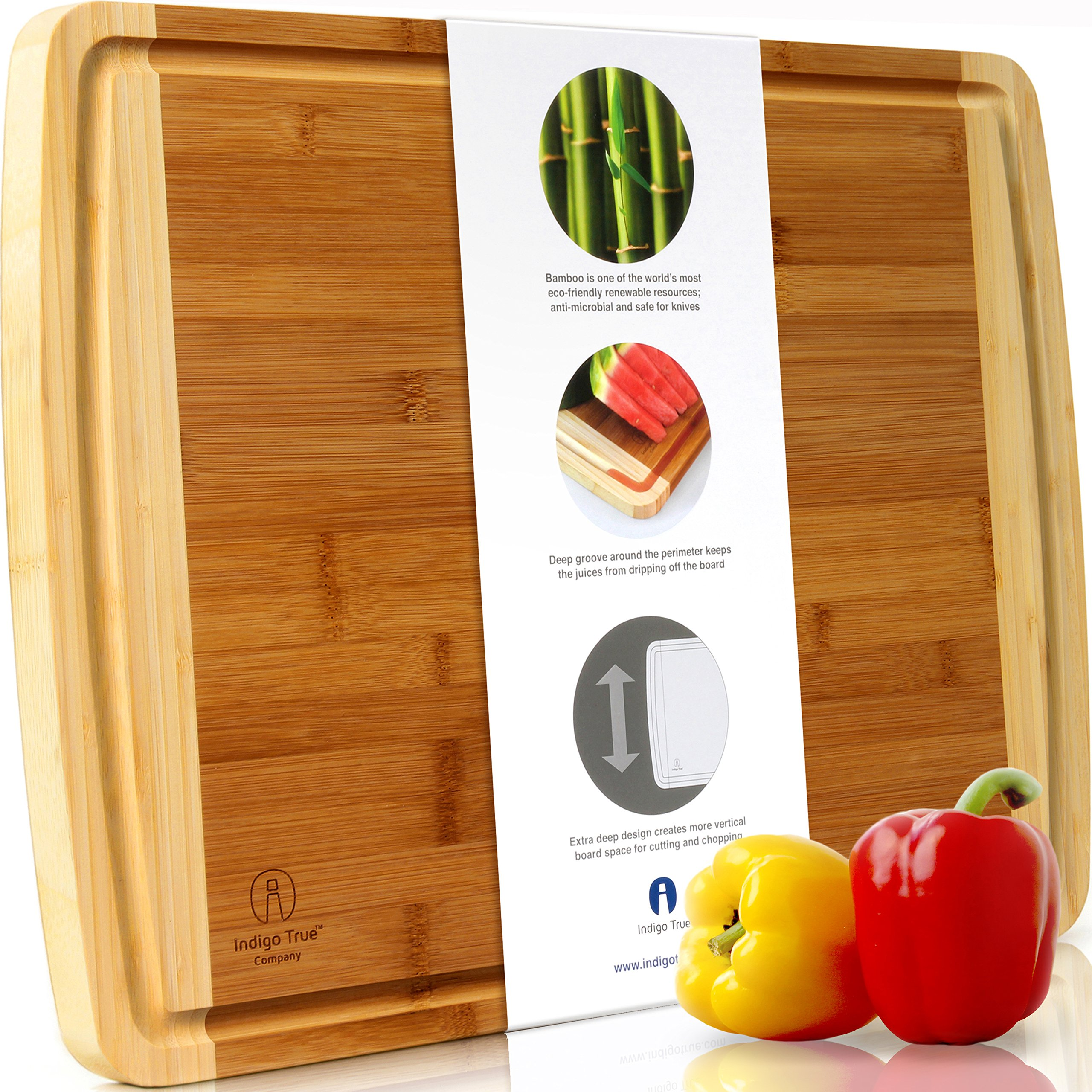 """Indigo True Cutting Boards for Kitchen – 1pc Extra Large Bamboo Wood Chopping Board 17.5""""x13.5"""" Wide & Thick Professional Wooden Butcher Block with Juice Groove for Meat, Serving Tray & Cheese Board"""