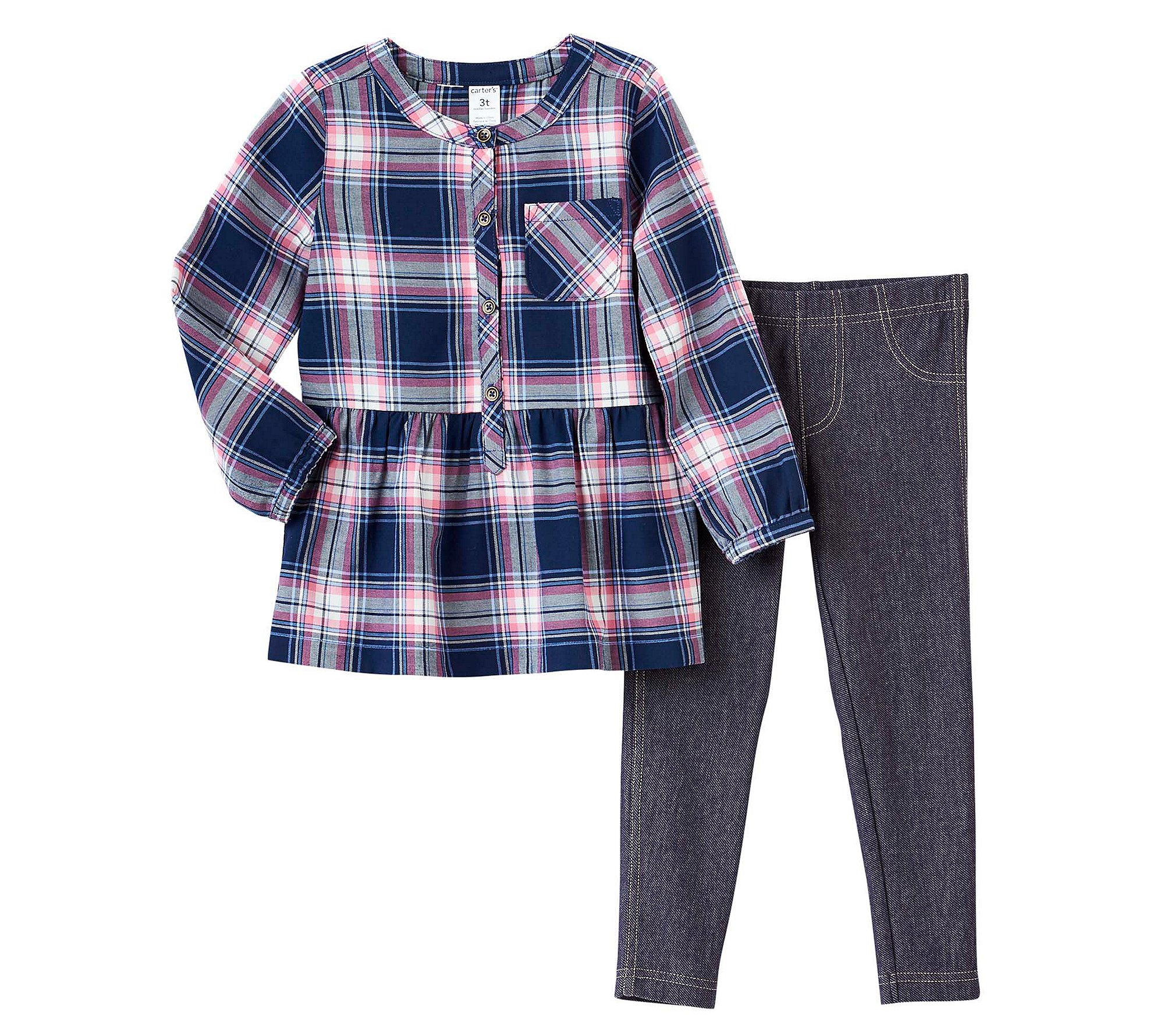 Carter's Girls' 2T-4T Long Sleeve Plaid Top and Jeggings Set