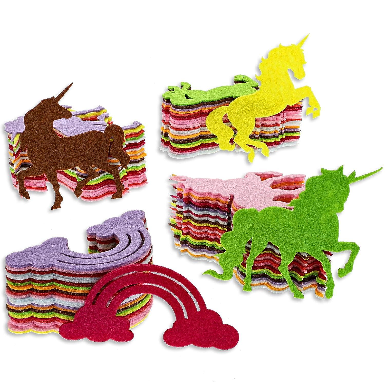 100-Pack Felt Rainbow Unicorn Shape Cutouts for DIY Crafts, 4 Designs, Assorted Colors