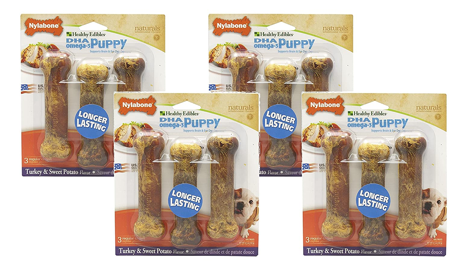 Nylabone Hlthy Edible Pup Turkey & Swt Pot Reg 3pk