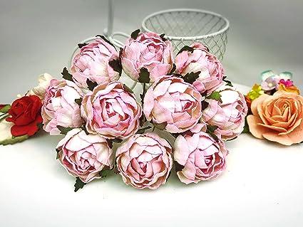 Amazon jn siam789 white pink 10 pcs peony ranunculus flowers peony ranunculus flowers mulberry paper for crafts 30 mm mightylinksfo