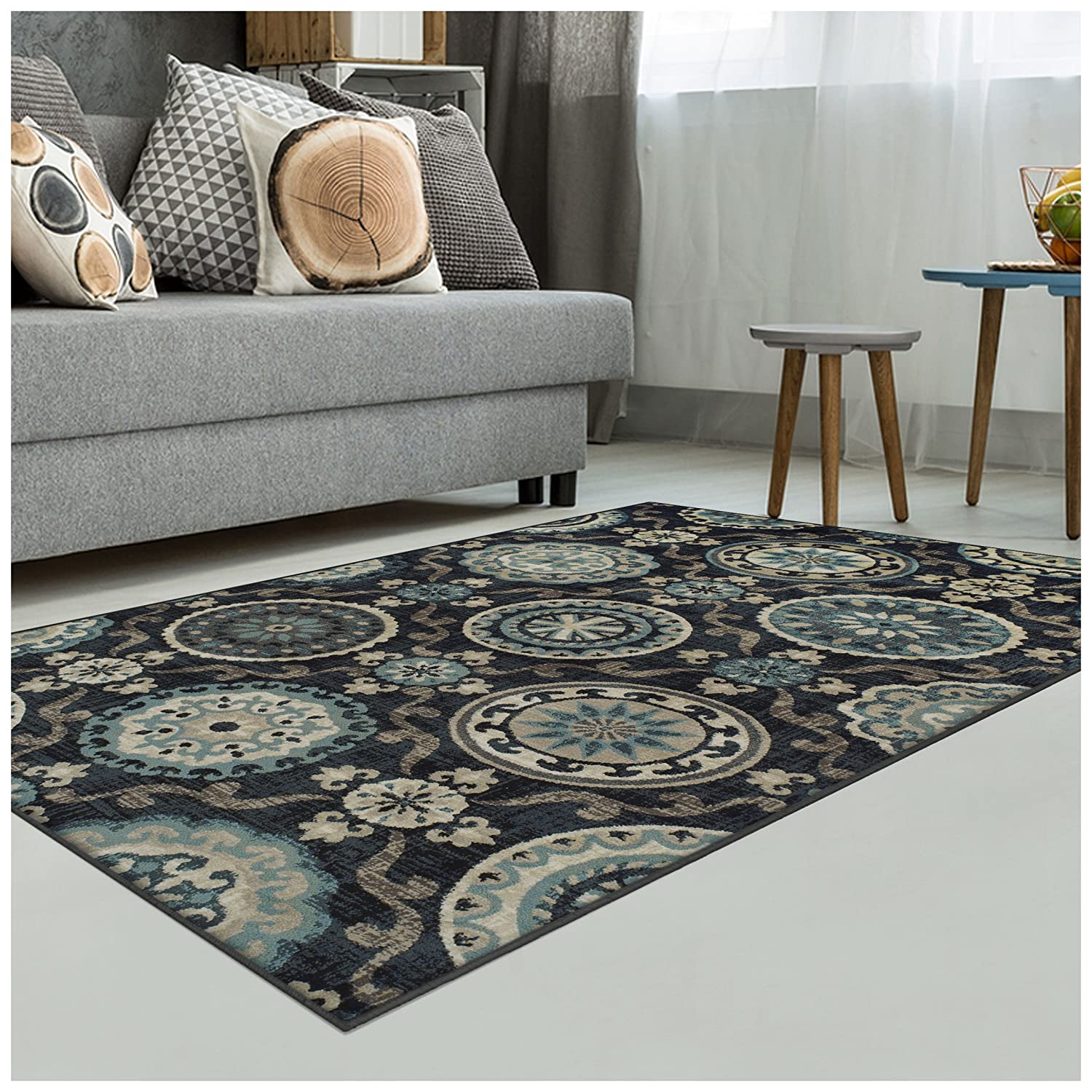 Cream Superior Area Rug 2 x 3 10mm Pile Height with Jute Backing Woven Fashionable and Affordable Abner  Collection