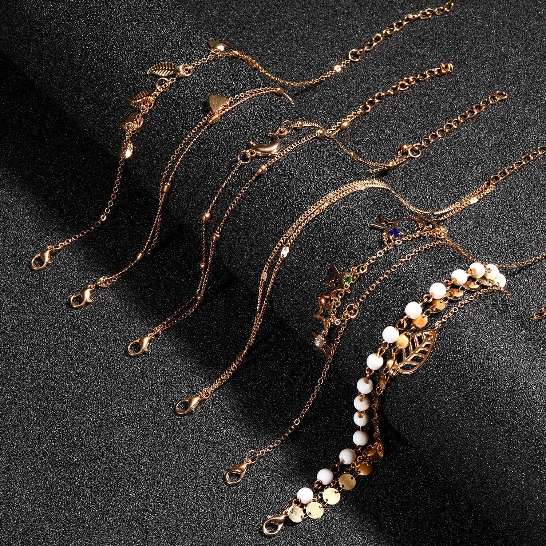 Hicarer 24 Pi/èces Bracelets de Cheville R/églables Cha/îne de Cheville Ensemble Bijoux Pied de Plage pour Femme Fille