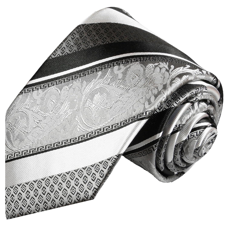 Krawatte Seide Designer Seidenkrawatte schwarz silber blau Paisley gemustert