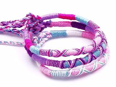 Lot de 3 Bracelet brésilien Amitié coton Friendship Coton Macramé Porte  Bonheur rose violet blanc homme