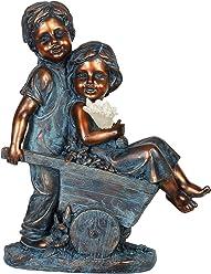 Exhart Faux Bronze Solar Boy and Girl in Wheelbarrow Statue, Statuary, Decorative Art Piece, Office/Front Yard/Backyard / Inside/Outside