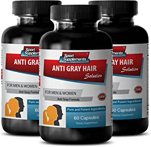 Folic Acid Pills - Anti Gray Hair - Chlorophyll Pills (3 Bottles - 180 Capsules)