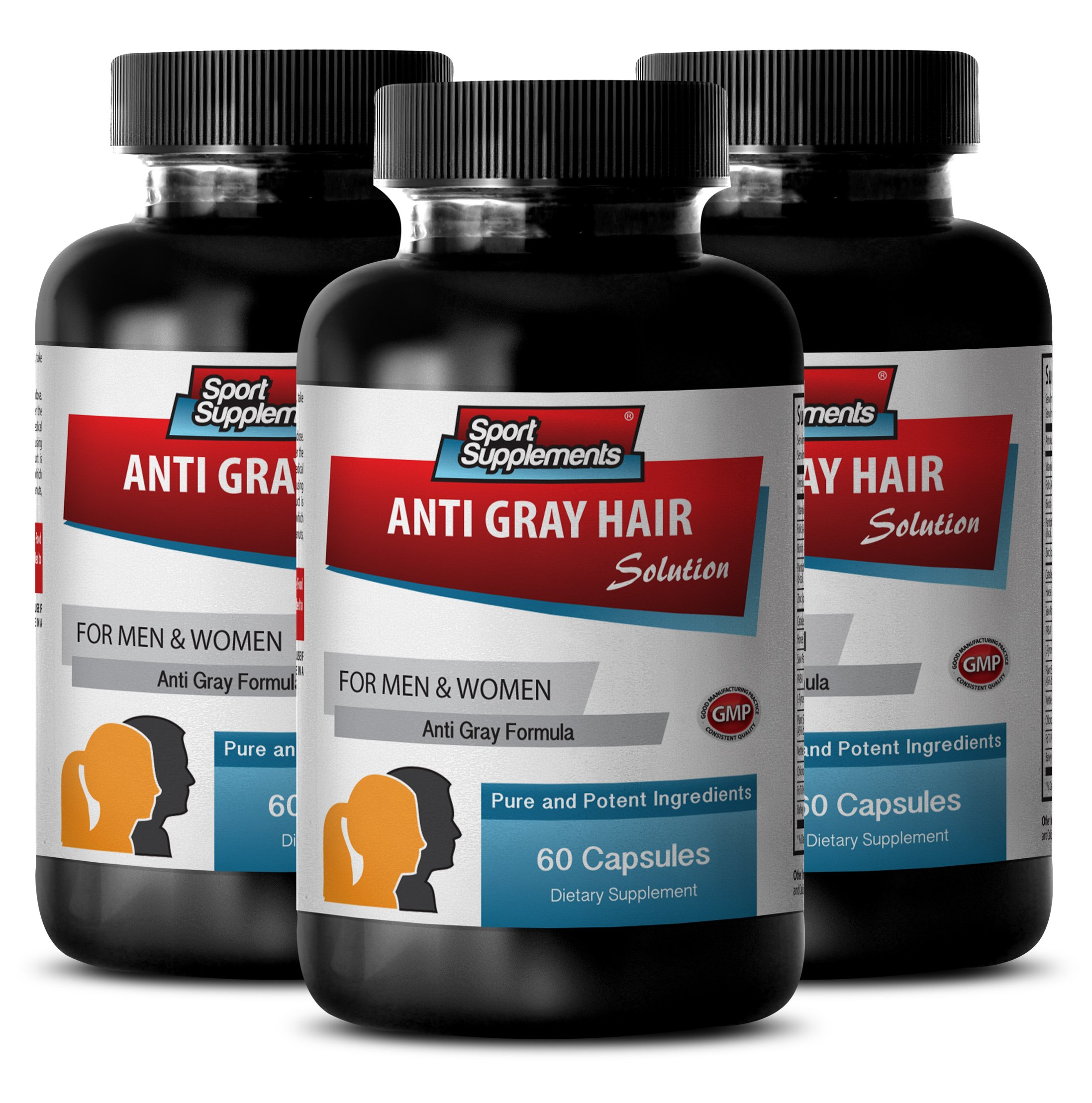 Folic acid powder - Anti Gray Hair - Pantothenic acid powder - Gray hair spray (3 Bottles - 180 Capsules)