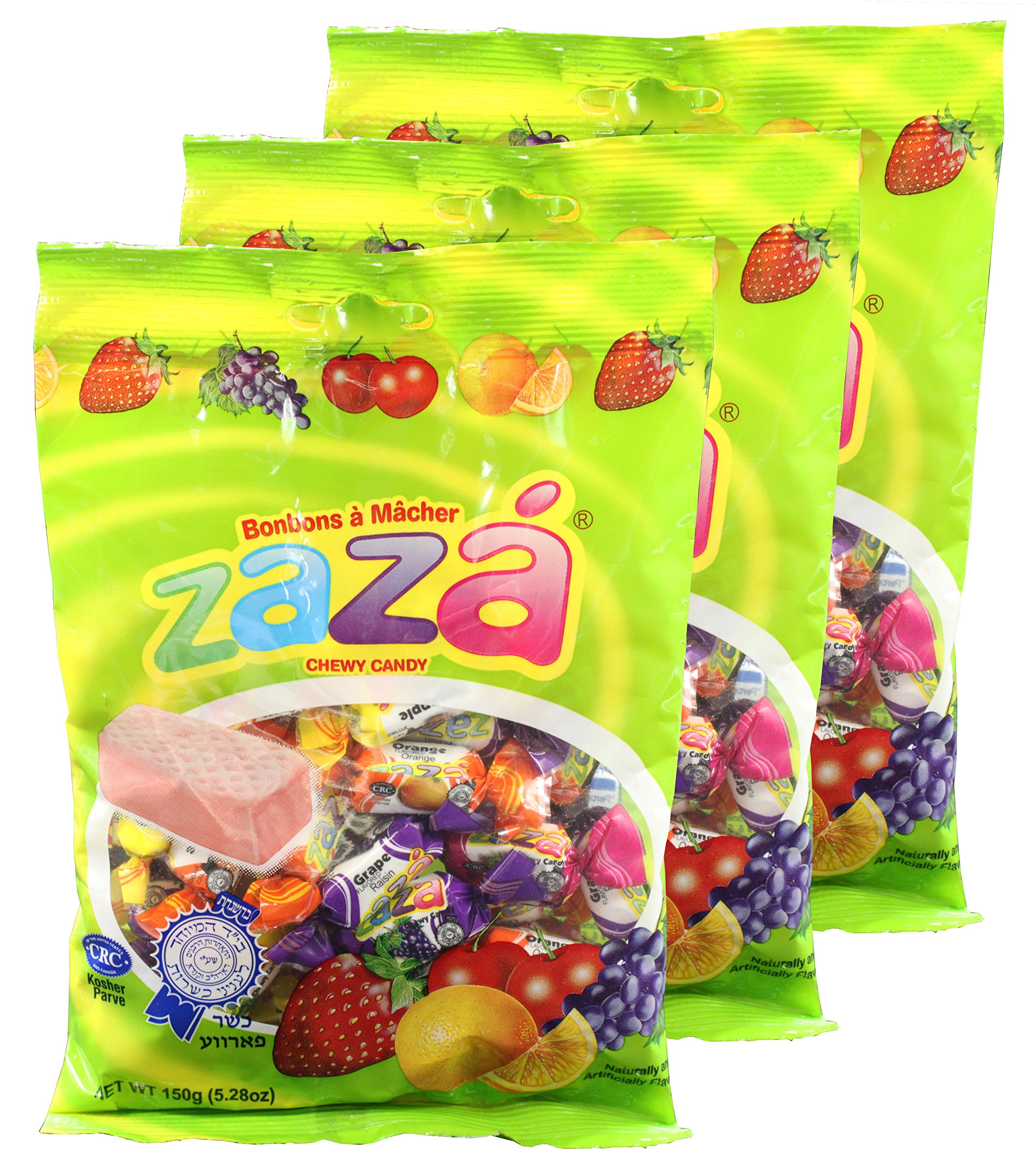Zaza Assorted Flavors & Colors Fruit Chewy Candy (3 Small Pack)