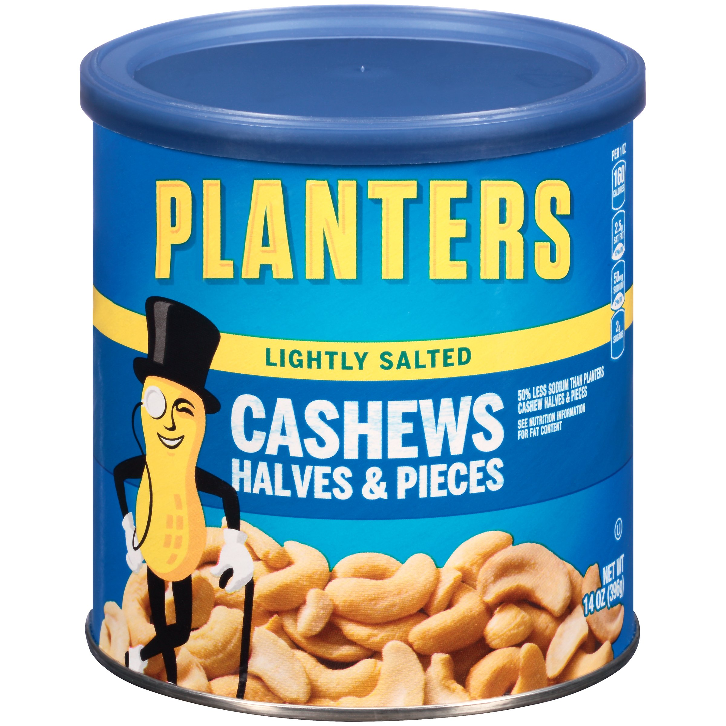 Planters Cashew Halves & Pieces, Lightly Salted, 14 Ounce Canister (Pack of 3)