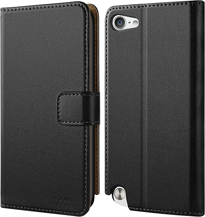 HOOMIL Wallet Case for Apple iPod Touch 7/6/5, [Classic Business Series] Flip Leather Cover - Black