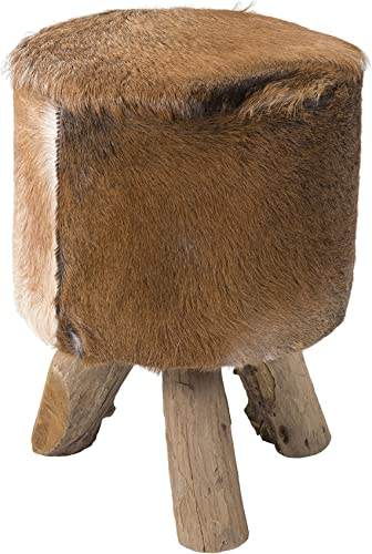 EAST at MAIN Nellie Brown Natural Hide Stool, 12x12x18