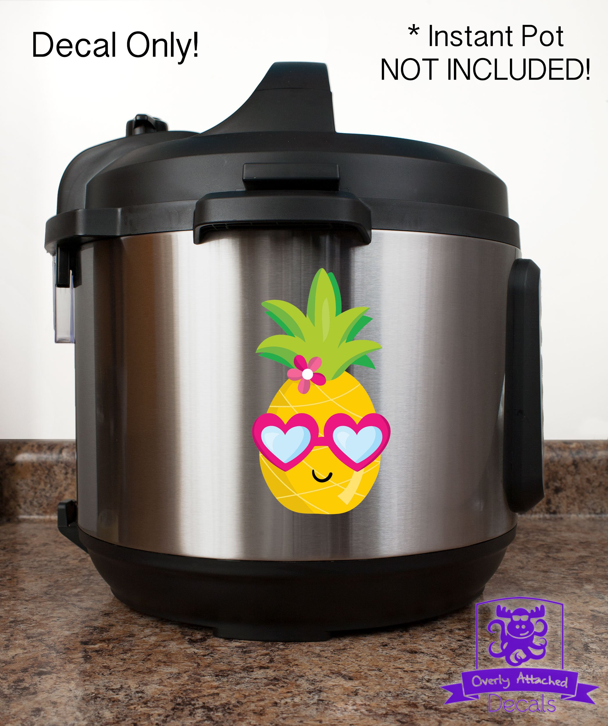 Cute Happy Pineapple Girl Head with Heart Glasses Vinyl Decal Wrap for Pressure Cooker - Full Color by Overly Attached Decals (Image #2)